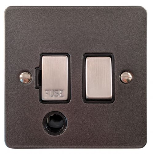 G&H FP356 Flat Plate Pewter 1 Gang Fused Spur 13A Switched & Flex Outlet